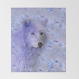 WOLF BLUE LILAC PURPLE FLOWER SPARKLE Throw Blanket