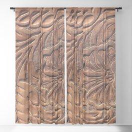 Vintage Worn Tooled Leather Sheer Curtain