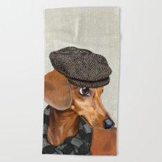 Elegant Mr. Dachshund Beach Towel