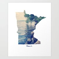 minnesota Art Prints featuring Minnesota by Cassie B Clark
