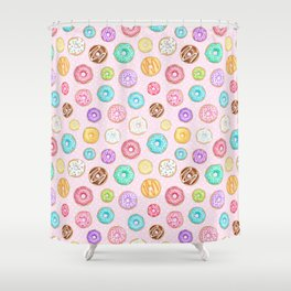Scattered Rainbow Donuts on pale spotty pink - repeat pattern Shower Curtain