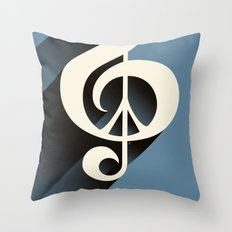 Steal Blue Retro Music & Peace Throw Pillow