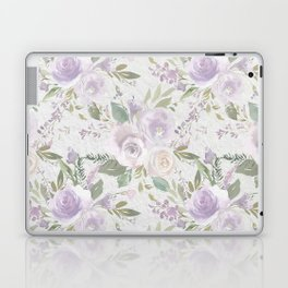 Lavender pastel green white watercolor floral pattern Laptop & iPad Skin