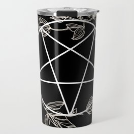 Pentagram with Plant Adornments - on black Travel Mug