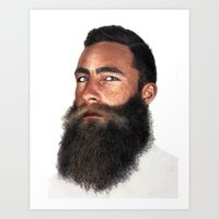 beard Art Prints featuring Beard by Rachel De Vita