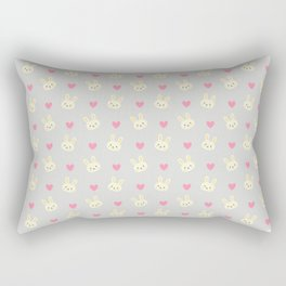 Bunny Business - Lavender Bunnies & Hearts Rectangular Pillow