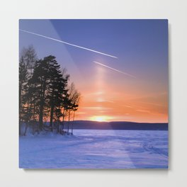 Сolumn of light and contrails Metal Print