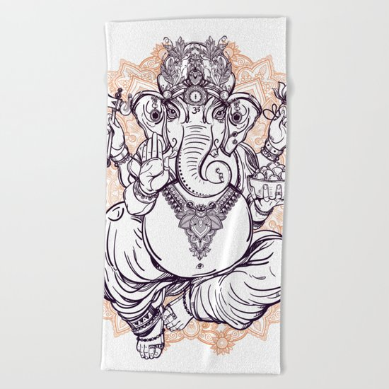 Lord Ganesha on Mandala Beach Towel