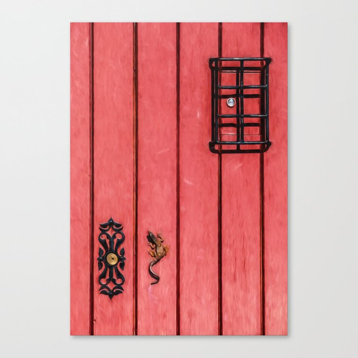 Faded Weathered Red Painted Speakeasy Door Of Old World Europe Canvas Print