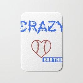 Funny Baseball Mom Design They call me crazy Blue Bath Mat