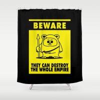 ewok Shower Curtains featuring Beware by dutyfreak