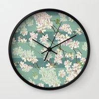sakura Wall Clocks featuring Sakura by Maria Durgarian