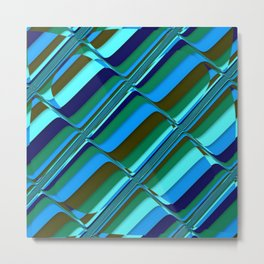 Vibrant Tiles in Blue, Green, Navy and Mint Metal Print