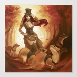"""A Sneak Of Weasels"" Steampunk Pin-Up Canvas Print"