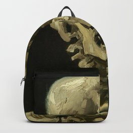 Skull of a Skeleton with Burning Cigarette Painting by Vincent van Gogh Backpack
