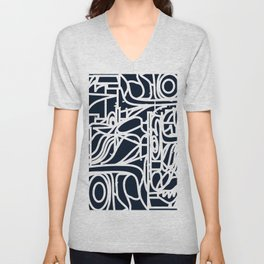 Stained Glass Pattern Black and White Unisex V-Neck