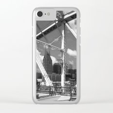 Nashville City Scape Black and White Clear iPhone Case