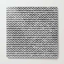 Elegant black white abstract vintage chevron Metal Print