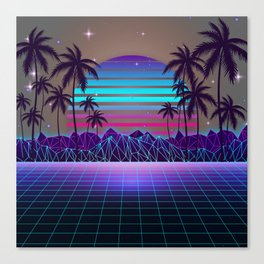 Fascinating Dusk Retrowave Canvas Print