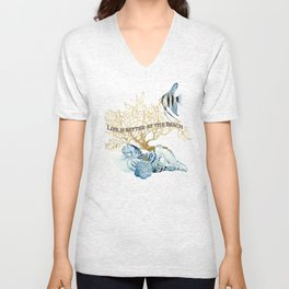 Indigo Ocean Sea Shells Angelfish Coral Watercolor Artwork Unisex V-Neck