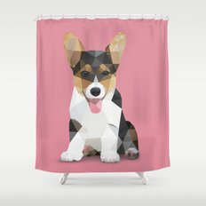 Low Poly Corgi. Shower Curtain