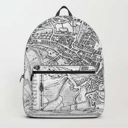 Vintage Map of Ghent Belgium (1650) BW Backpack