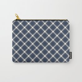 Navy Blue, White, and Black Diagonal Plaid Pattern Carry-All Pouch