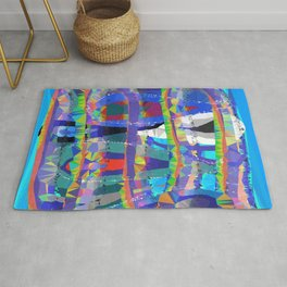 Color Waves Low Poly Geometric Triangle Art Rug