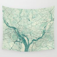 washington Wall Tapestries featuring Washington Map Blue Vintage by City Art Posters