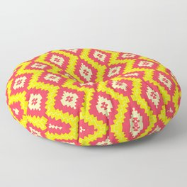 Navajo Native American Indian Burnt Orange Mustard Yellow and Red Clay Geometric Ethnic Southwestern Floor Pillow