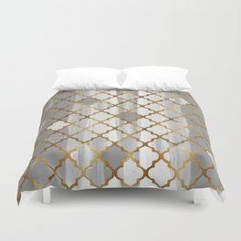 Moroccan Tile Pattern In Grey And Gold Duvet Cover