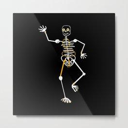 Skeleton Momo Tooth Gold Metal Print