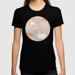 Geese, clouds, roses, vintage calligraphy T-shirt