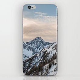 Mountains at sunset - Alpine snowy landscape iPhone Skin