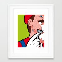 the secret life of heroes Framed Art Prints featuring The secret life of heroes - MarioHair by Greg-Guillemin
