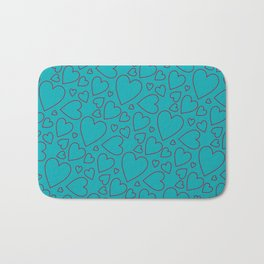 Dark red and turquoise hearts pattern. Bath Mat