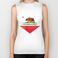 summer Biker Tanks featuring California by Fimbis