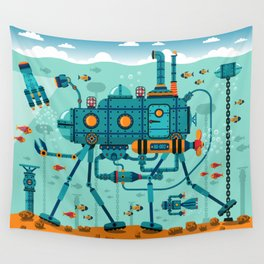 Cute Colorful Robot Underwater Scene Wall Tapestry