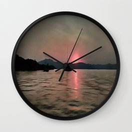 Sunset Shores In Pink And Grey Wall Clock
