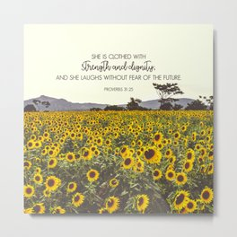 Proverbs and Sunflowers Metal Print