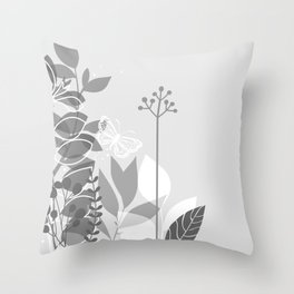 Pantone Pewter Gray Botanicals and Butterfly Graphic Design 2 Throw Pillow