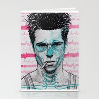 tyler spangler Stationery Cards featuring Tyler Durden by Bronsolo Illustration