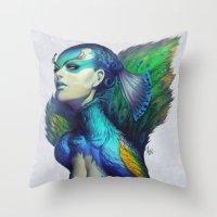 peacock Throw Pillows featuring Peacock Queen by Artgerm™