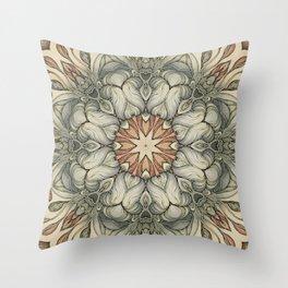 abstract flowers hand drawn and  kaleidoscope mandala Throw Pillow