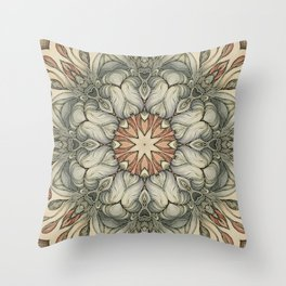 abstract flowers hand drawn and  kaleidoscope mandala Throw Pillow
