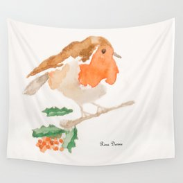 Vintage Christmas Robin Wall Tapestry