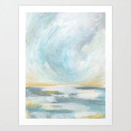 Thankful - Gray and Yellow Ocean Seascape Art Print