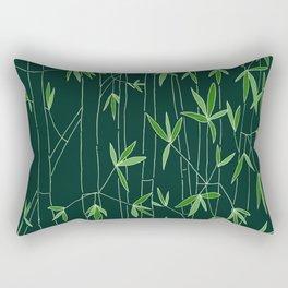 Bamboo Sketch in Dark Green Rectangular Pillow