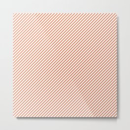 Mini Shell Coral Peach Orange and White Candy Cane Stripes Metal Print