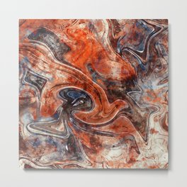 Orange marble watercolor Metal Print
